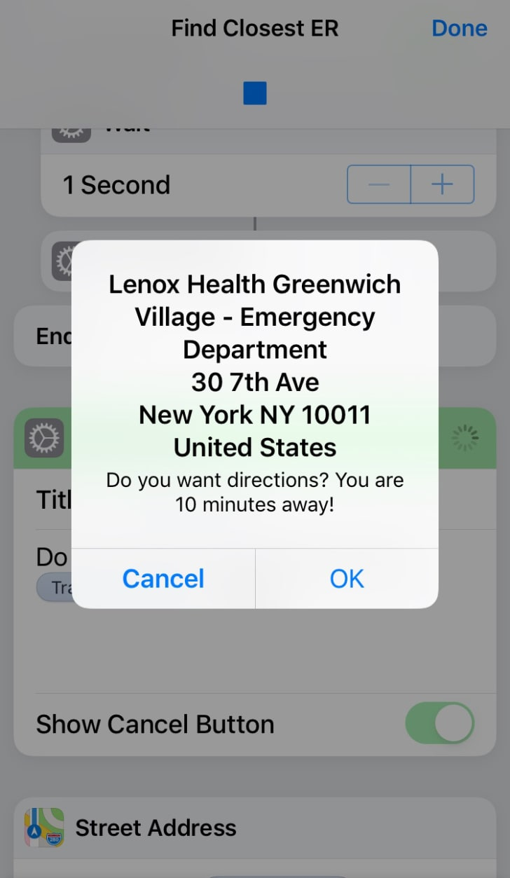 A message directing the user to Lenox Health Greenwich Village Emergency Department
