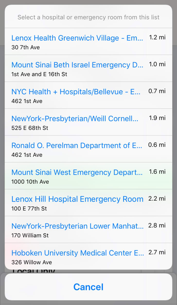 A list of hospitals generated by Find Closest ER