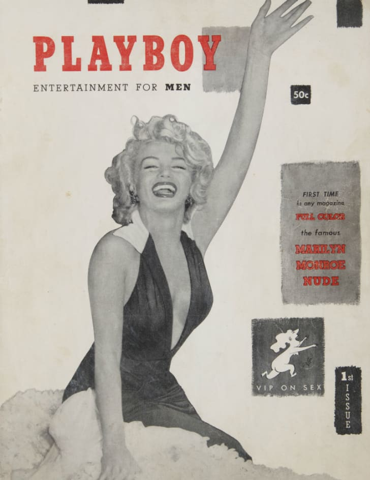 The cover of the first issue of 'Playboy' features Marilyn Monroe