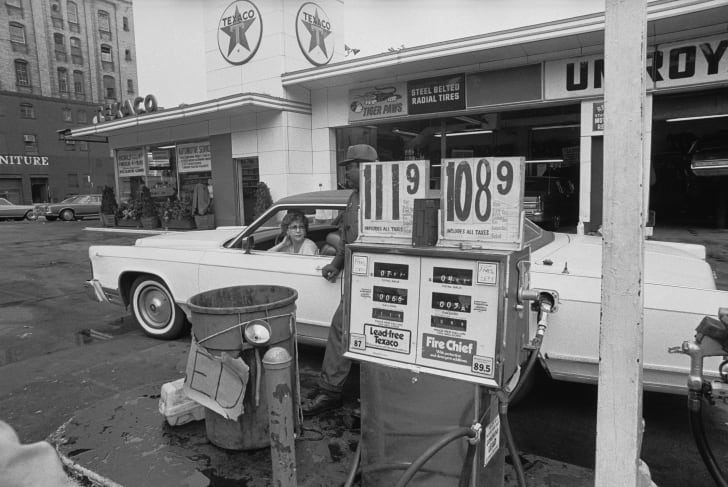 A Texaco petrol station in New York City, circa June 1979.