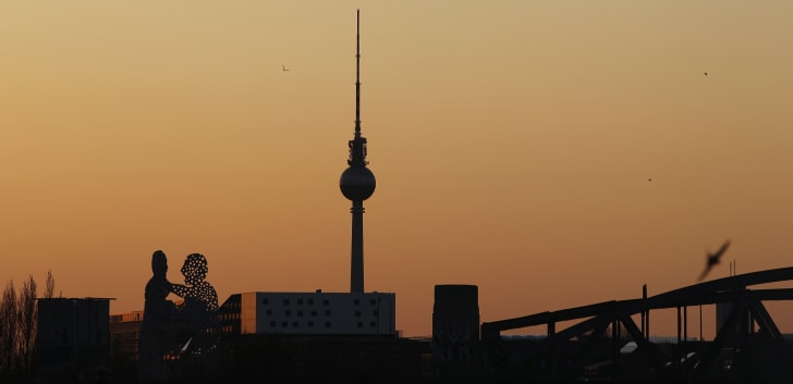 Berlin's landmark TV tower (the Fernsehturm) is pictured at sundown.