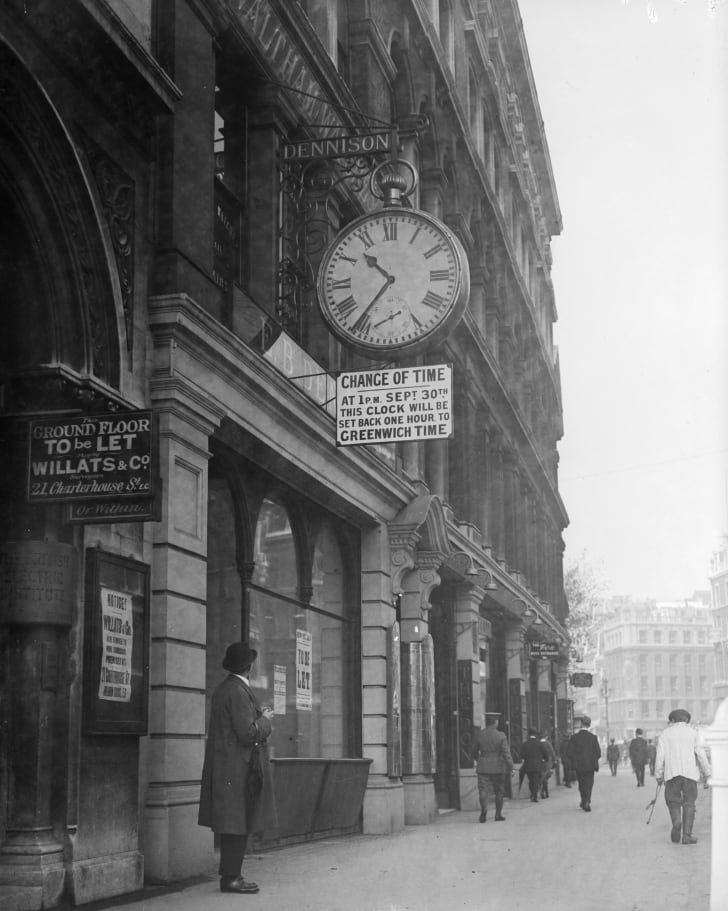 A Greenwich Mean Time notice in 1916 informs the British public of a change in time as clocks go back an hour during the first year of the daylight saving scheme.