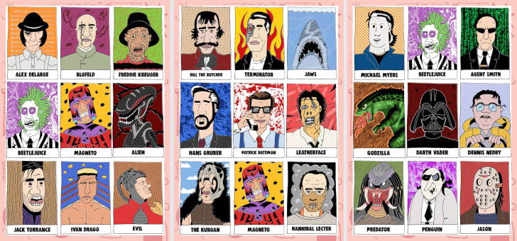 Bad Guy Bingo boards featuring illustrations of movie villains
