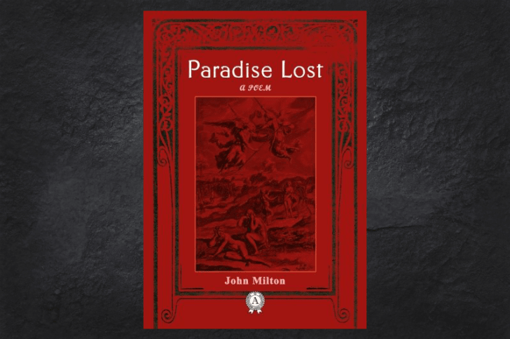The cover of the book Paradise Lost on a black background.
