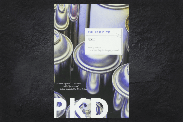 The cover of the book Ubik on a black background.