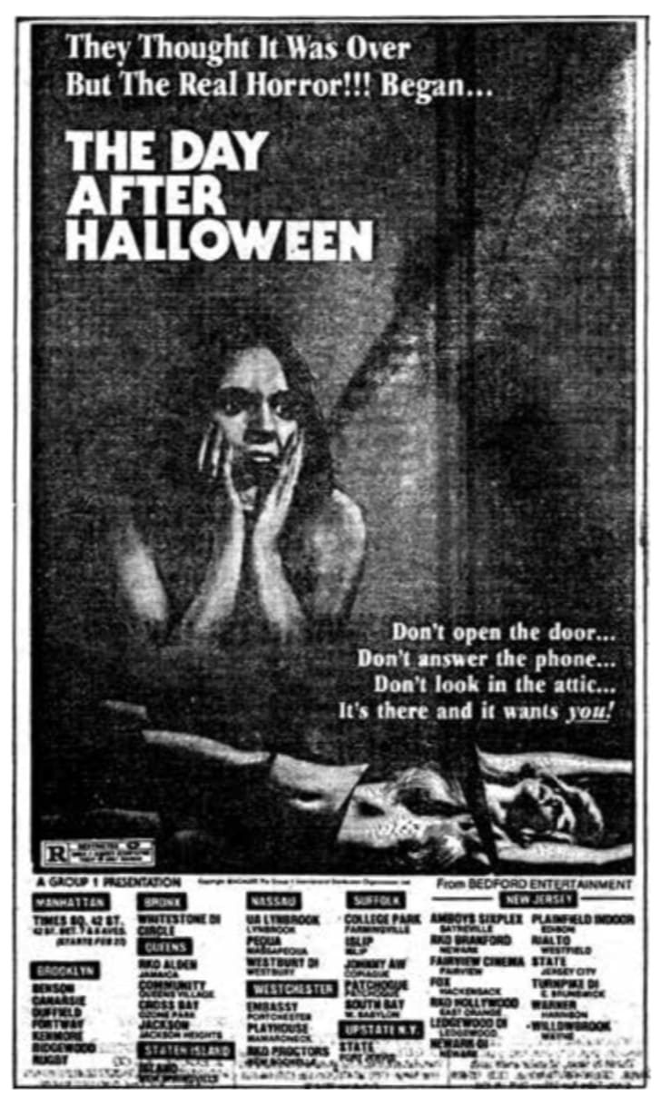 An ad for 'The Day After Halloween'