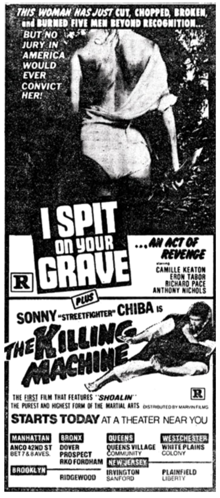 An ad for 'I Spit on Your Grave'