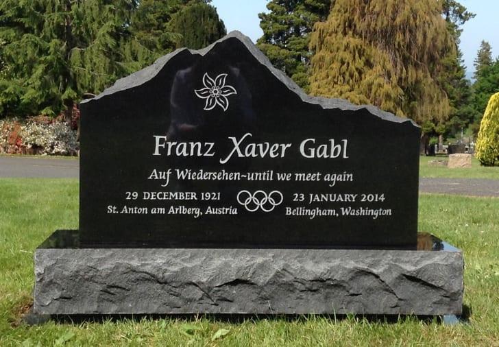 A grave marker for Franz Xaver Gabl