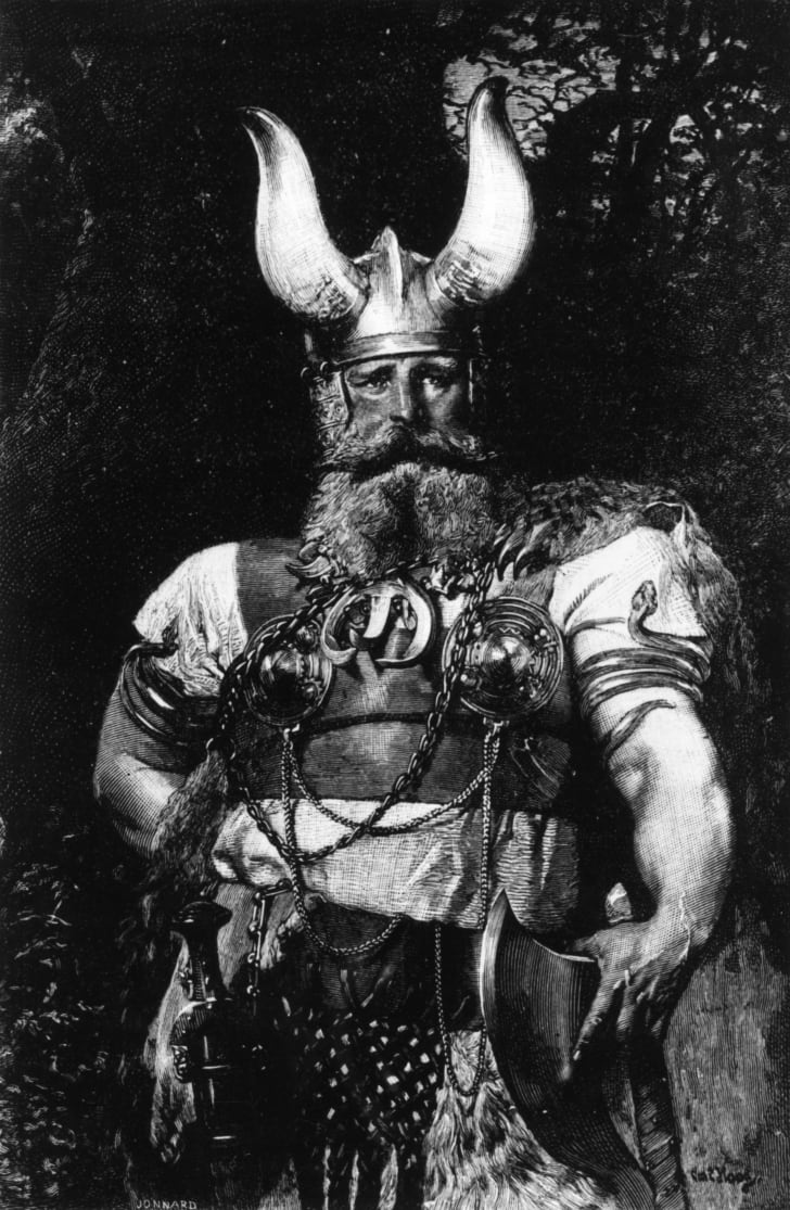 A Viking chief in a suit of armor and carrying an axe, circa 800 CE.