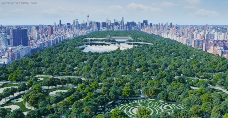 A rendering of a potential Central Park design