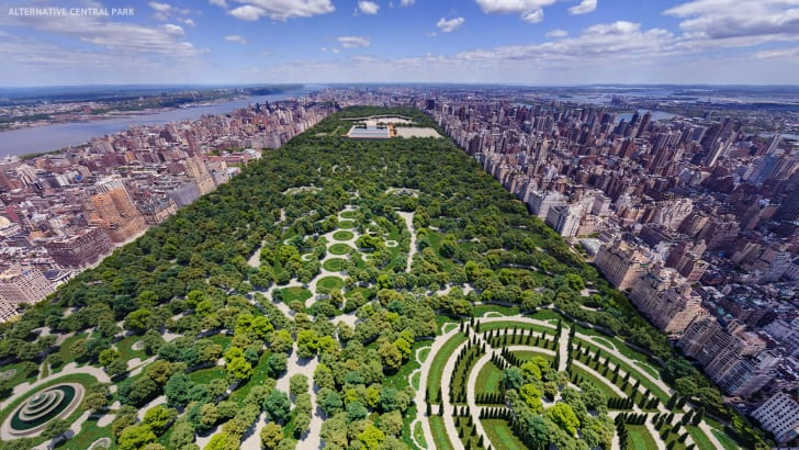 A rendering showing European-style gardens in a rejected Central Park design
