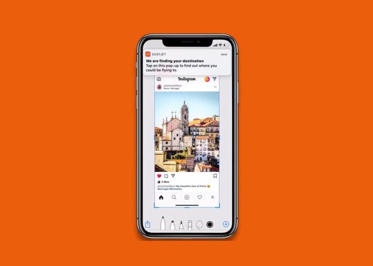 A screenshot of a European city on the easyJet app