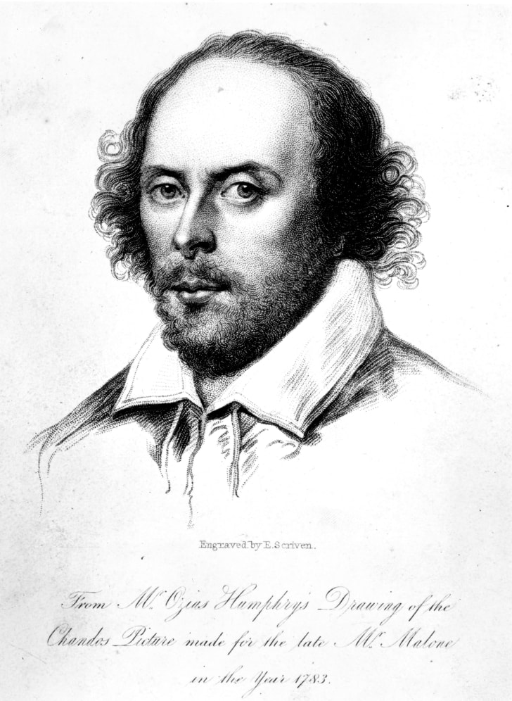 An engraving of Shakespeare by E Scriven, after Humphrey's drawing known as the 'Chandos portrait,' circa 1590.