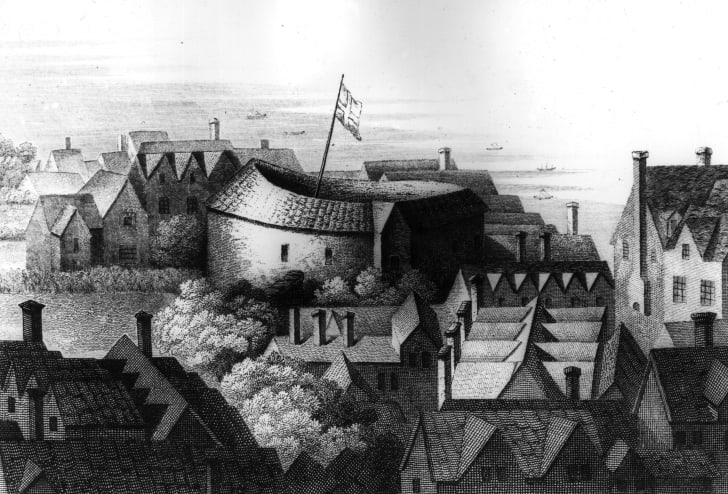 An 1647 engraving by Hollar of Shakespeare's Globe theatre.