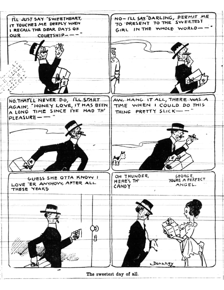 This front-page Sweetest Day cartoon was published in The Cleveland Plain Dealer on October 8, 1921.