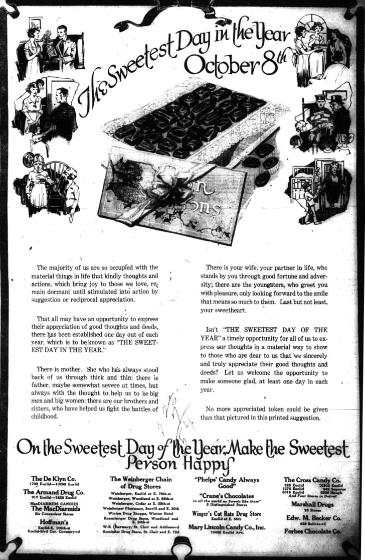 A Sweetest Day advertisement first published in The Cleveland Press on October 6, 1921.