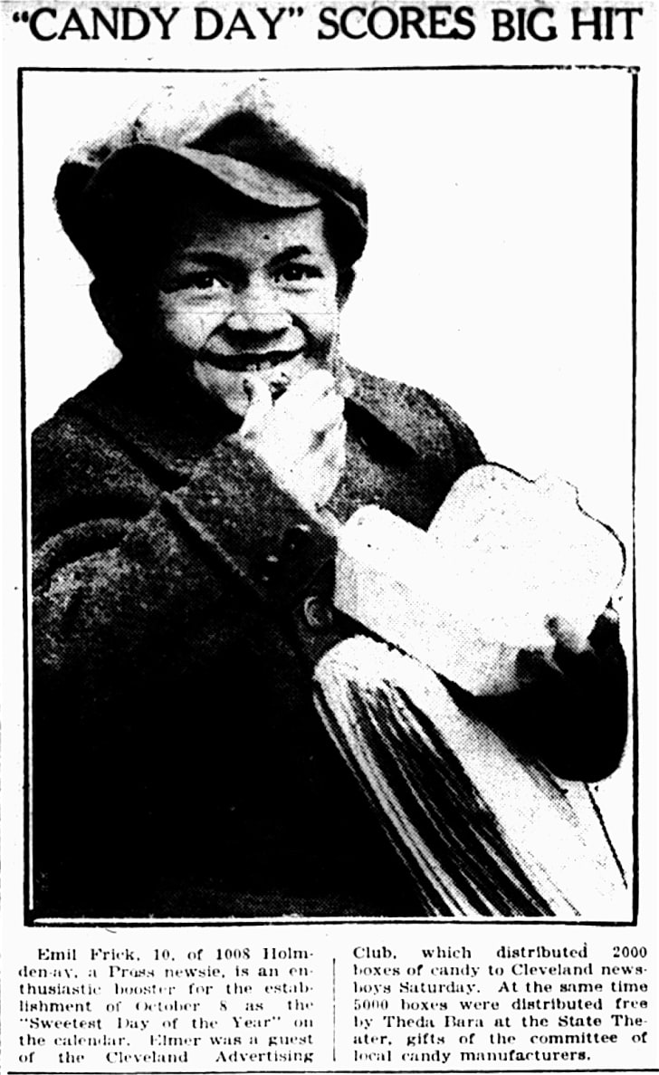 This image of newsboy Emil Frick was first published in The Cleveland Press on October 8, 1921.