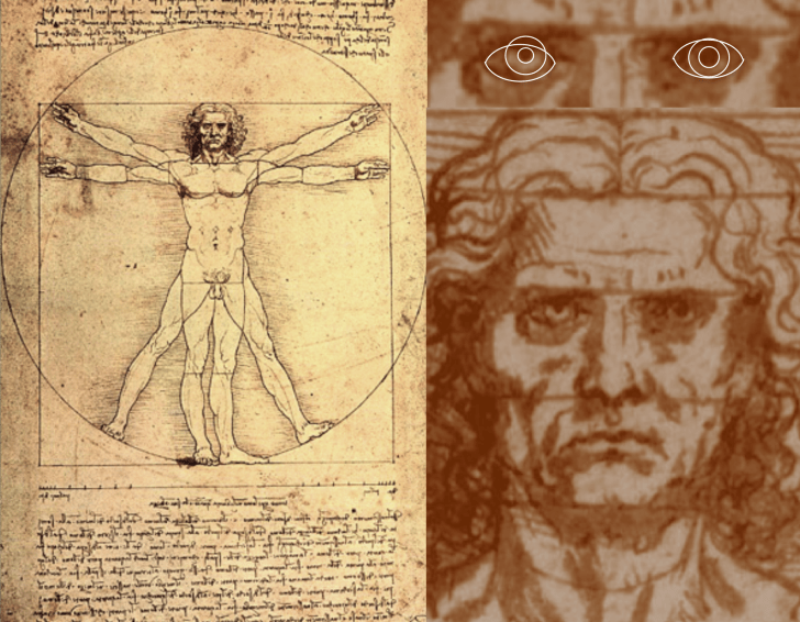 'Vitruvian Man' with the subject's pupils highlighted