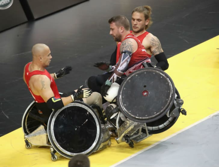 Invictus Games athletes participate in wheelchair rugby
