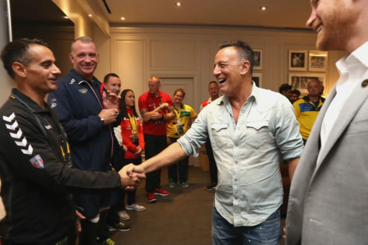 Bruce Springsteen shakes the hand of a war veteran at the Invictus Games