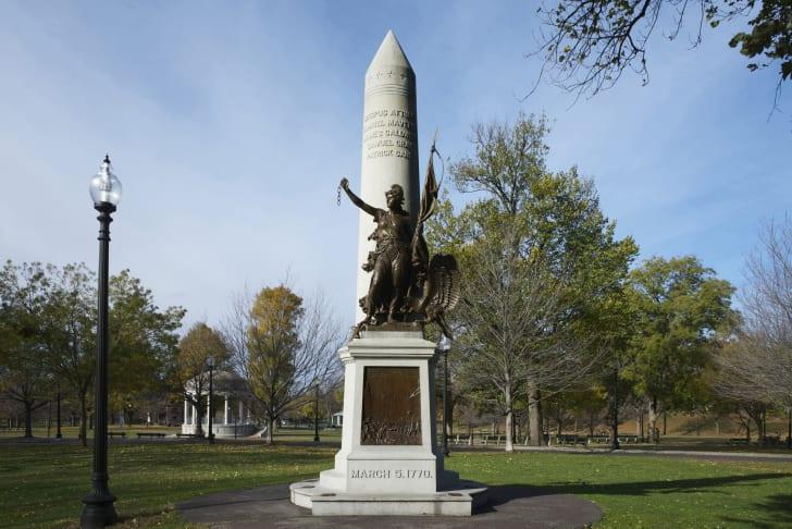 Boston Massacre monument in Boston Common.