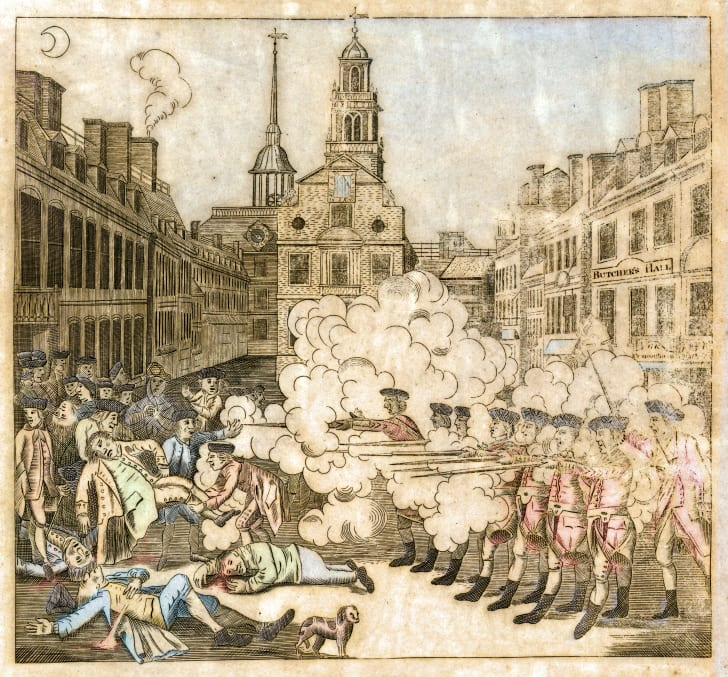 drawing of the Boston Massacre