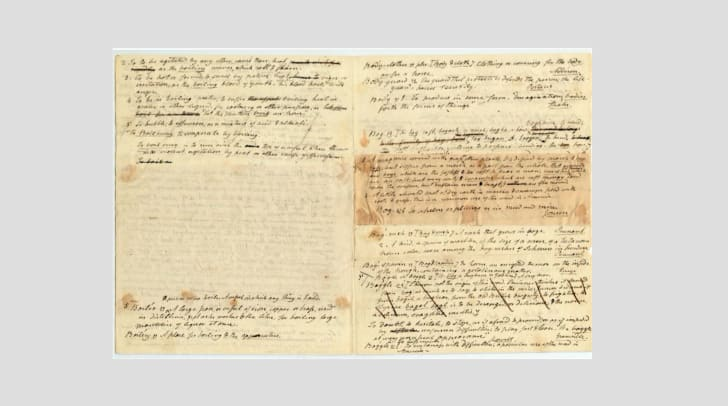 Handwritten drafts of dictionary entries by Noah Webster, circa 1790-1800.