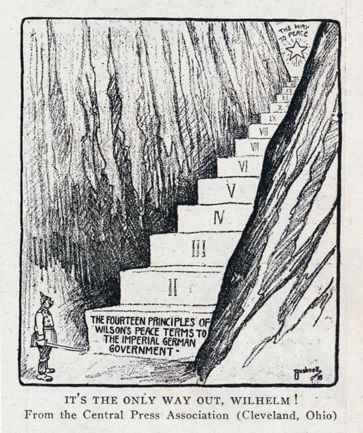 Cartoon about Woodrow Wilson's Fourteen Points