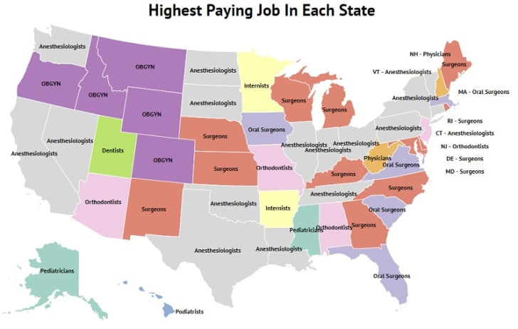 A map displays the highest-paying jobs in each state