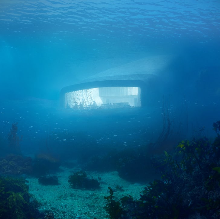 A rendering of the exterior of the underwater restaurant