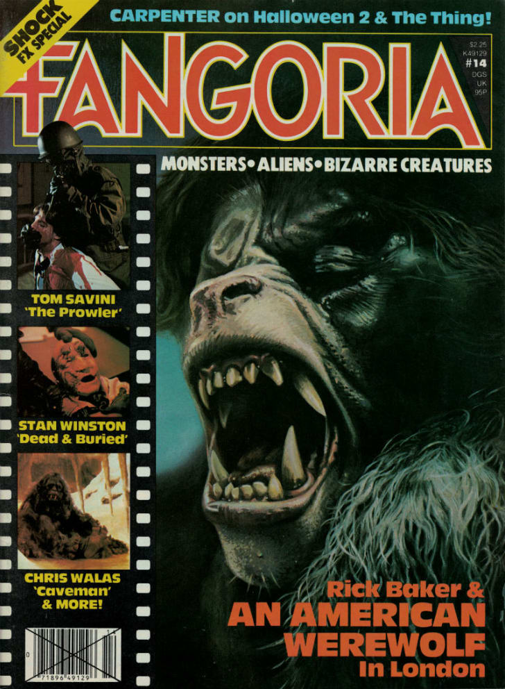 A 'Fangoria' cover featuring 'An American Werewolf in London'