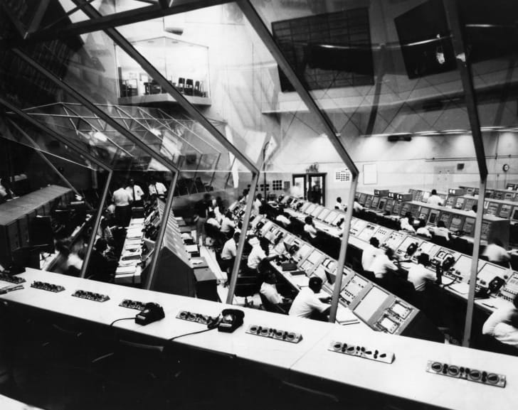 The control room for the launch of Apollo 4.