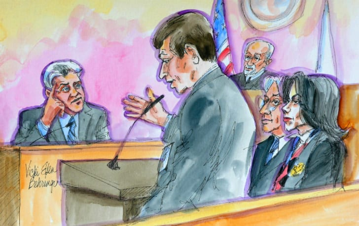 A courtroom sketch by Vicki Ellen Behringer depicts Jay Leno's testimony while Michael Jackson looks on during Jackson's child molestation trial in 2005