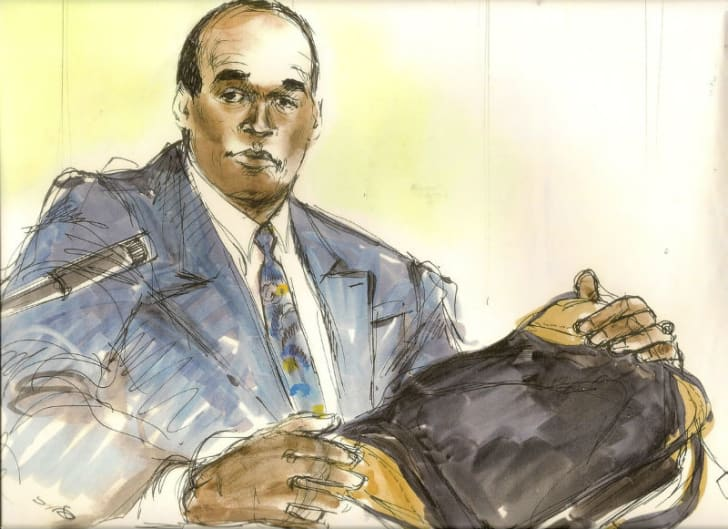 A courtroom sketch by Mona Shafer Edwards depicts O.J. Simpson testifying during his 1995 trial for murder