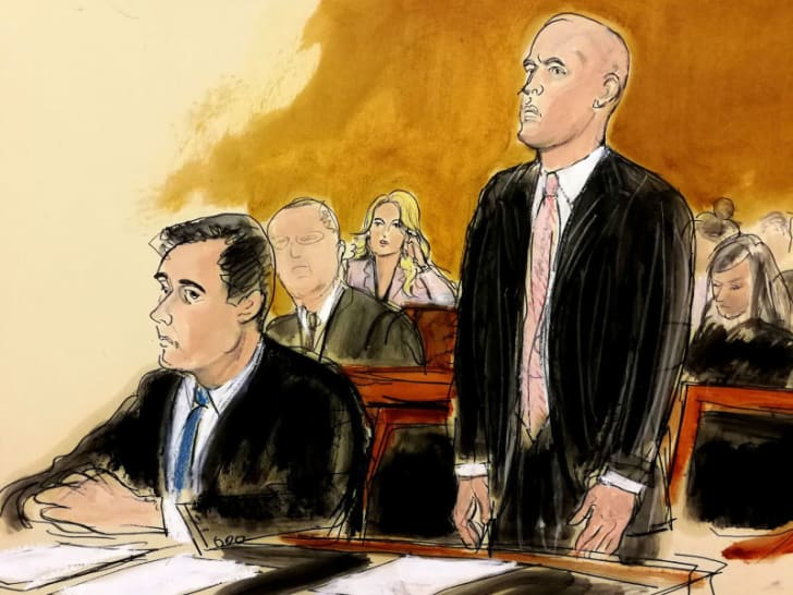 A courtroom sketch by Elizabeth Williams depicts Michael Cohen seated next to his attorney during a 2018 hearing
