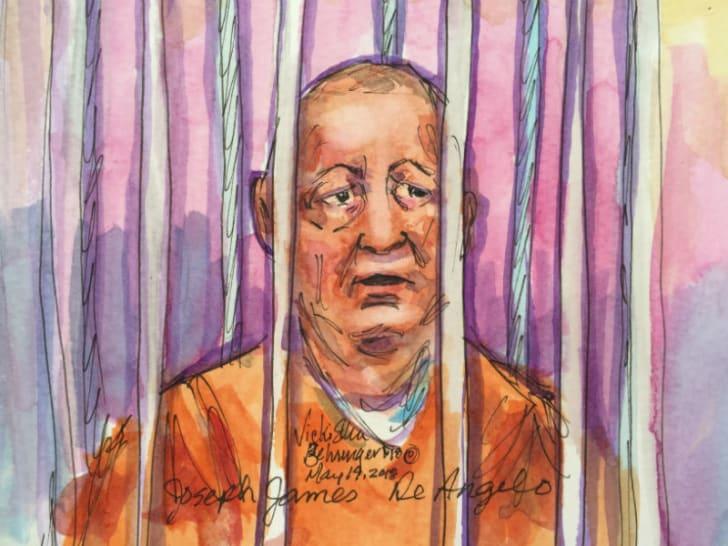A courtroom sketch by Vickie Ellen Behringer depicts accused Golden State Killer Joseph James DeAngelo in 2018