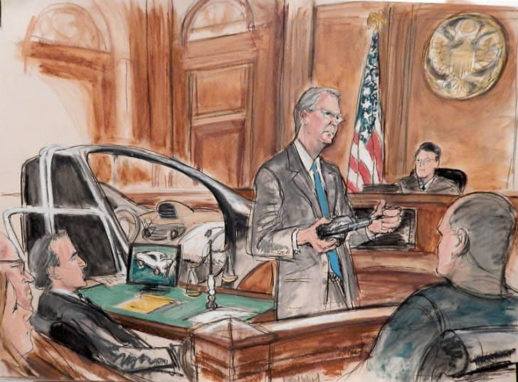 A courtroom sketch by Elizabeth Williams depicts attorney Robert Hillard in a 2016 trial examining the possible fault of General Motors in a motor vehicle accident