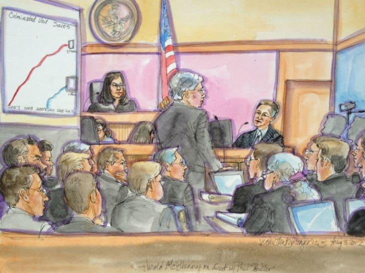 A courtroom sketch by Vicki Ellen Behringer depicts players in the 2012 Apple v. Samsung trial