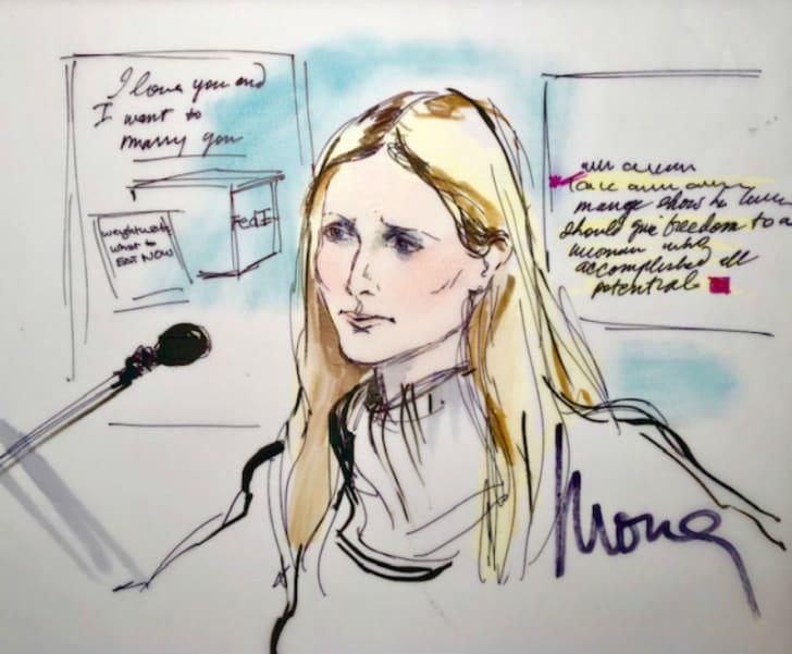A courtoom sketch by artist Mona Shafer Edwards depicts Gwyneth Paltrow testifying during a trial