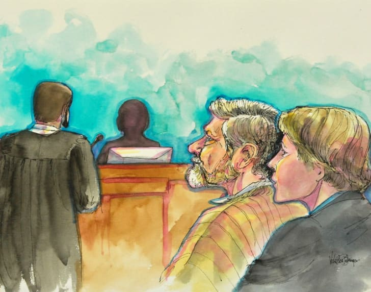 A courtroom sketch by Vicki Ellen Behringer featuring Unabomber Ted Kaczynski and his attorney