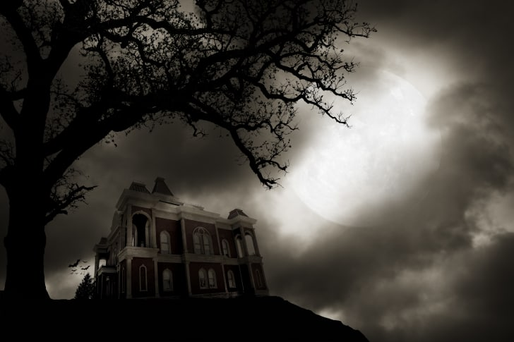 A haunted house on a hill