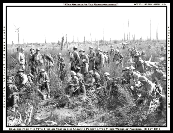 Soldiers resting during Meuse-Argonne offensive, WWI