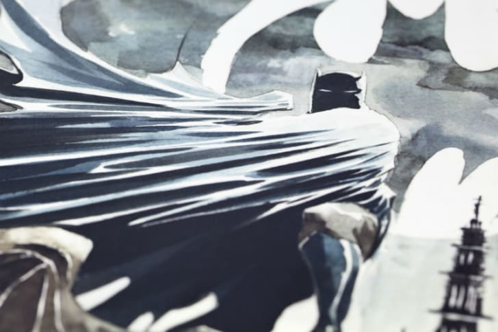 Batman stands in front of the Bat symbol in this book collection illustration