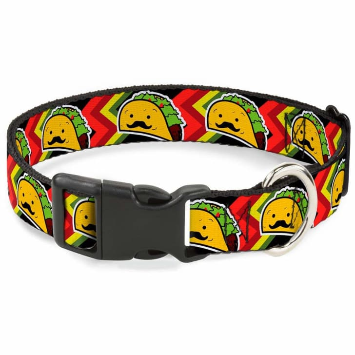 A dog collar with tacos on it.