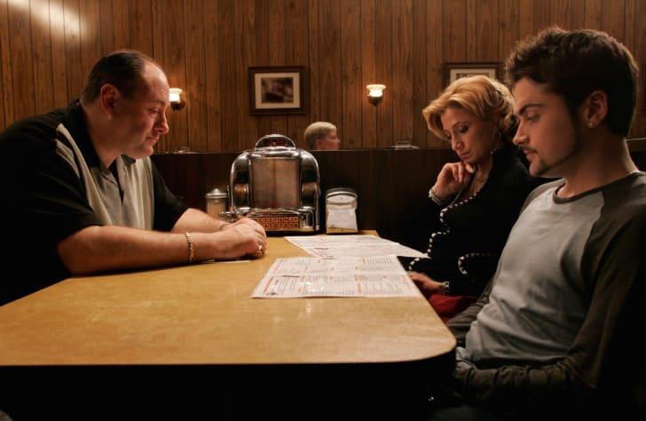 James Gandolfini, Edie Falco, and Robert Iler in The Sopranos