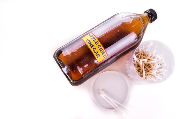 Bottle of apple cider vinegar.