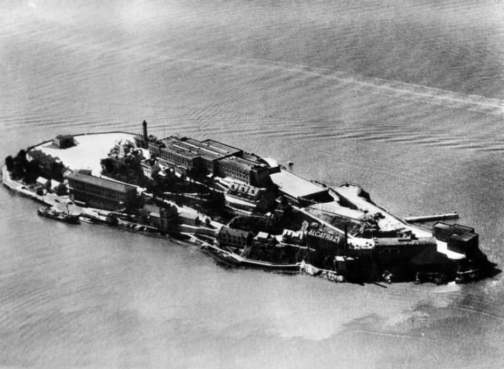 An aerial view of Alcatraz circa the 1930s