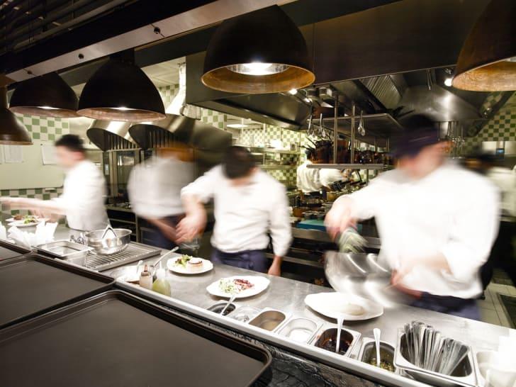 An overly busy restaurant kitchen
