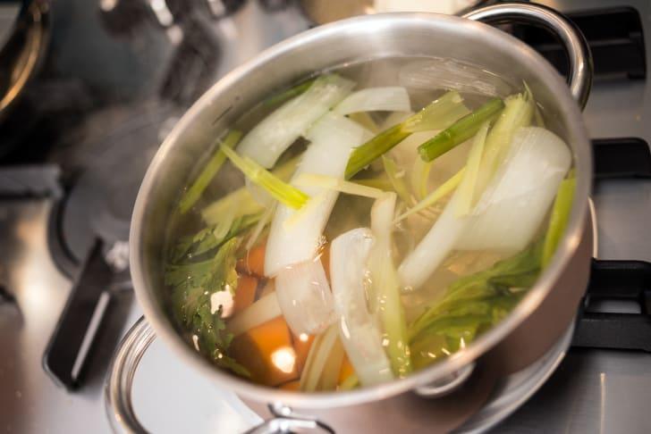 Vegetable stock in pot.