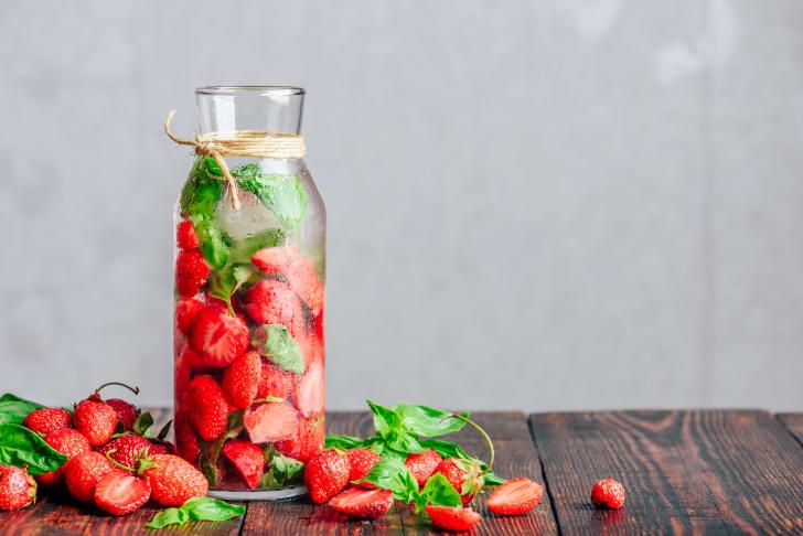 Strawberries in water.